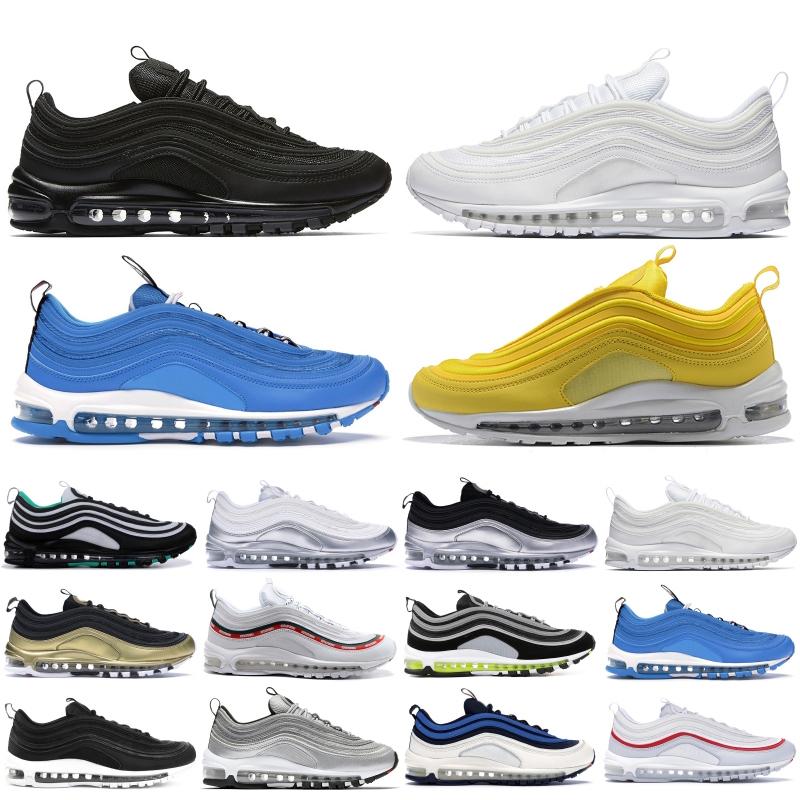 nike air max 97 1997s livraison gratuite Chaussures de course Hommes Femmes OG pur balle de platine Invaincu Coussin blanc Triple respirante Outdoor