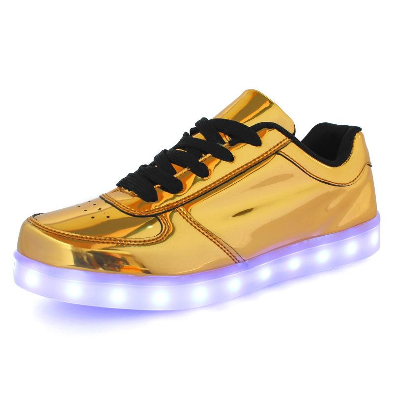 1 Homens Colorido Incandescência Sapatos Casuais Com Luzes Up Famale Levou Sapatos Luminosos Masculino Levou Sapatos Para Adultos Cesta de Néon Tamanho Grande 35-46