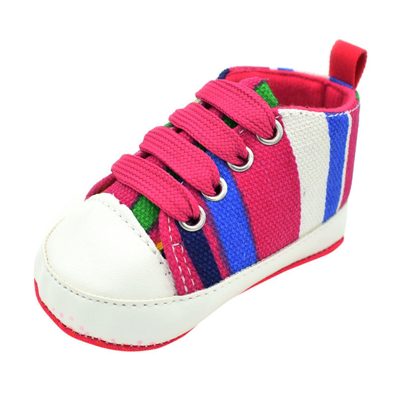 1 Pair Baby Shoes Newborn Infant Baby Boys Girls Stripe Soft Sole Anti-slip Canvas Shoes Baby First Walkers toddler shoes D4 (4)