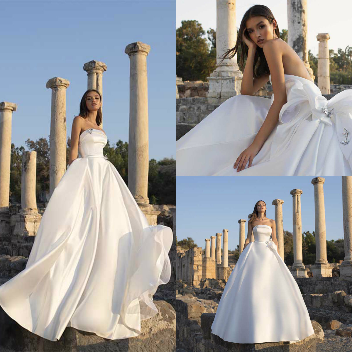 Discount 2020 Satin Wedding Dresses Strapless Bow Crystal Jewelry