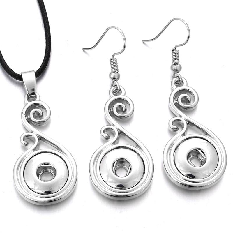 Jewelry set mini petite 12 mm Snap Bouton Collier /& 12 mm Snap Boucles d/'oreilles pour femmes