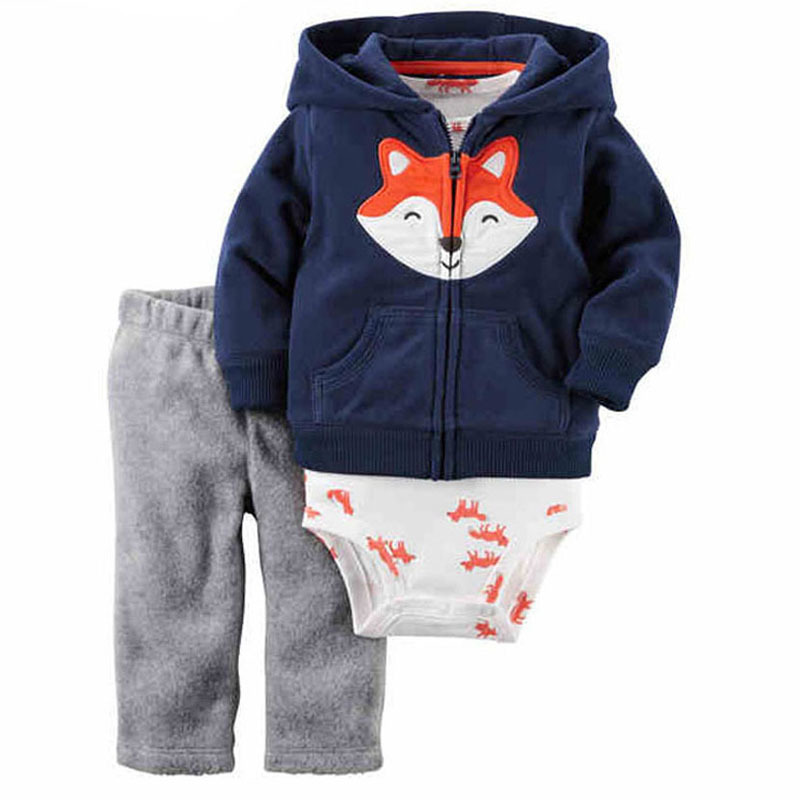 2018 spring newborn baby boy clothes lovely fox hooded coat+romper+pants for 0-24m cotton casual baby girls outfit long sleeve