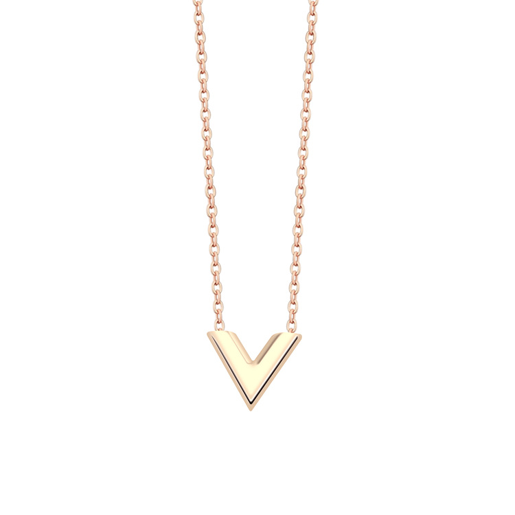 Stainless Steel Necklace High Quality rose gold silver V-shaped Pendant Necklace 18K Gold Ladies Necklace