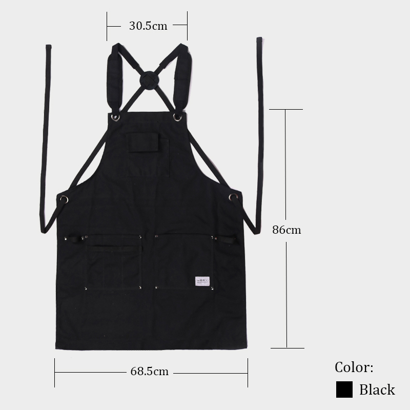 WEEYI Heavy Duty Waxed Canvas Workshop Apron for Men with Pockets Cross Back Strap in Black for Woodworker Cobbler Small to XXL (2)