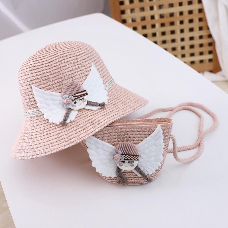 Beauty Floral Sun Hat Summer Children Straw Hats with Garland Large Brim Girls Beach Hats Parent-Child Sunhats