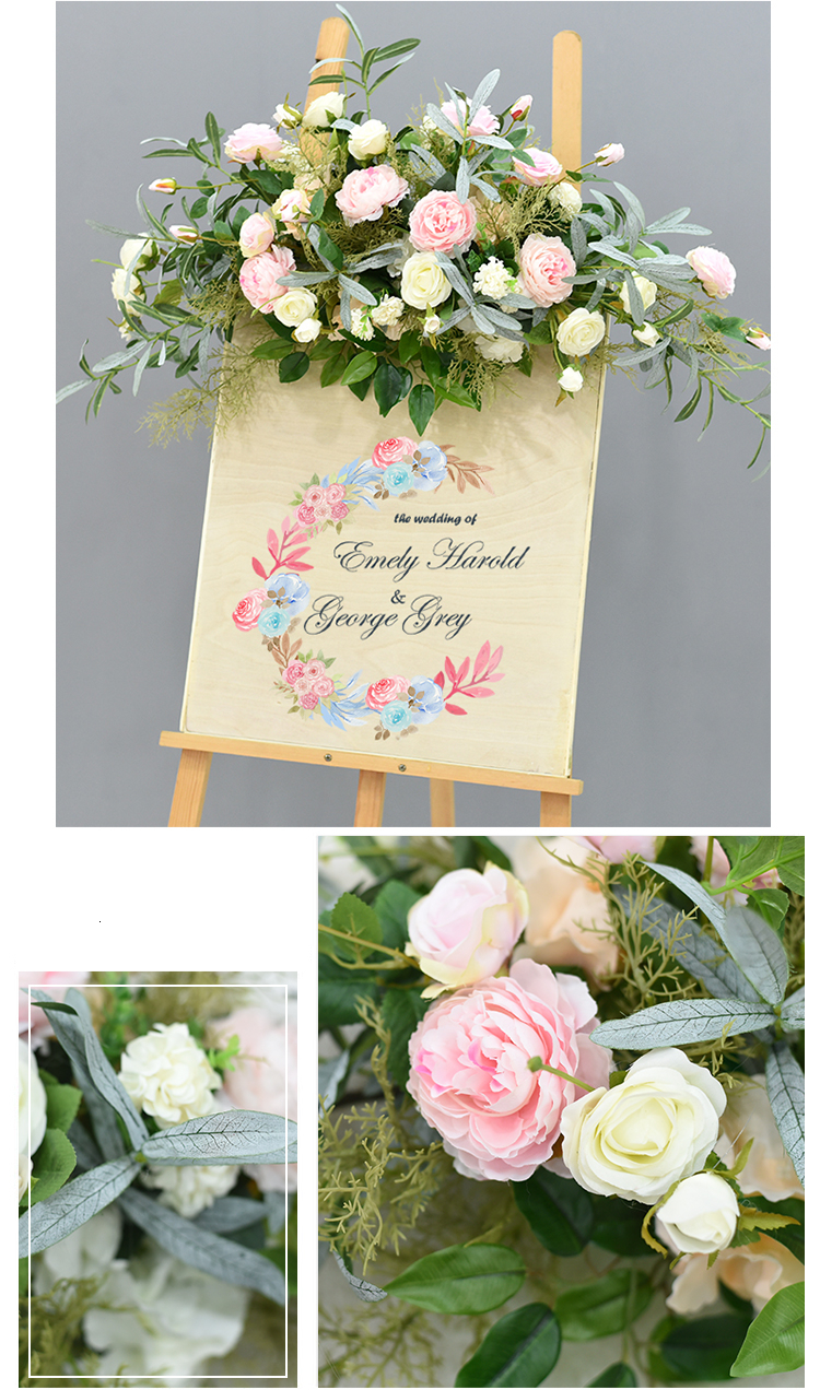 JAROWN Wedding Flower Row Welcome Sign Simulation Floral Hotel Creative Guide Decorations Photography Props Home Door Flower (23)