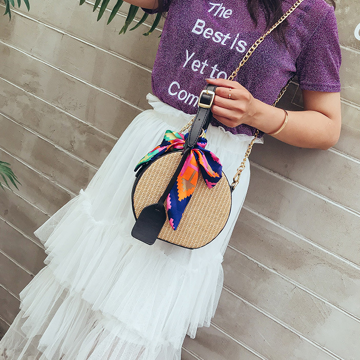 Heba Hot Sale Women's Straw Bag Crossbody Bag Woven Bags Summer Leisure Bag Small Round Single