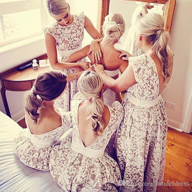 2017 New Full Lace Hi-Lo Prom Dresses Jewel A Line Backless High Low Modest Party Pageant Special Occasion Gowns Cheap Custom Made