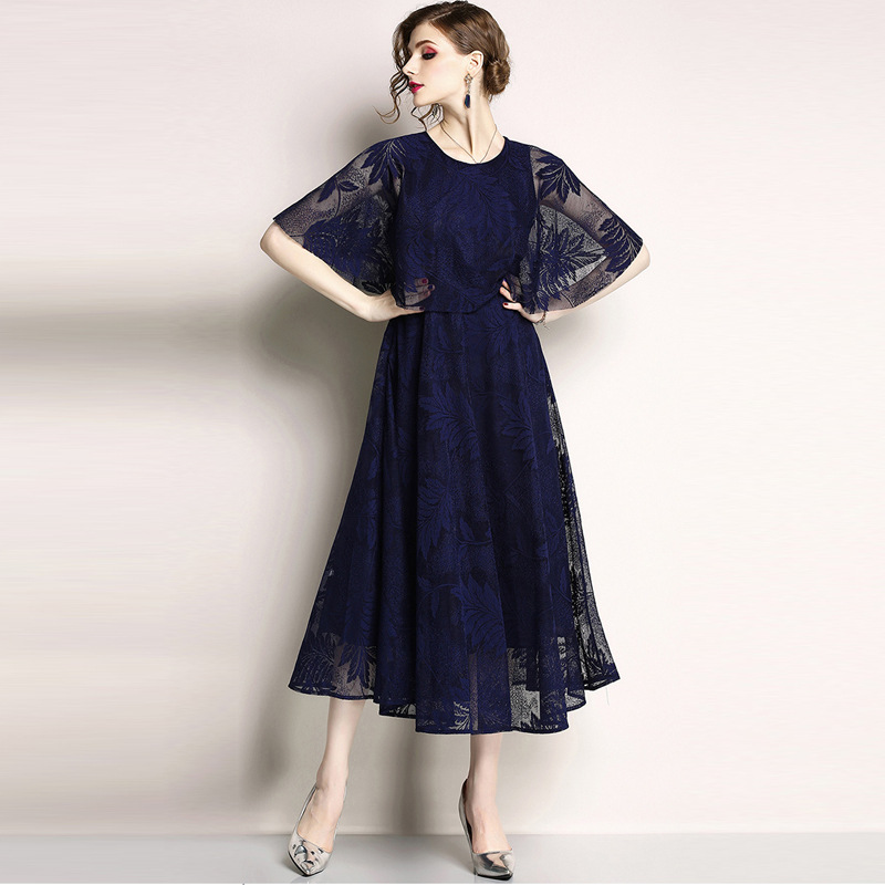 New Fashion Women Girls Europe Lace Transparent O-neck Half Cloak Sleeve Embroidery Long Dresses Ball Gown Evening Party Dress