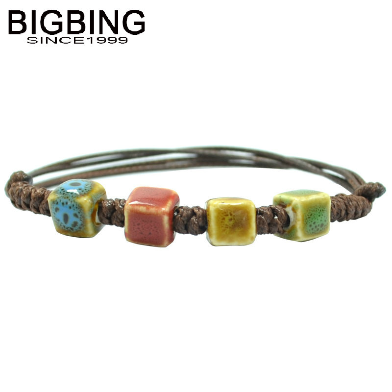 Spring Deer Hand-Woven Colorful Unisex Four-Beaded Round Ceramic Porcelain Bracelet
