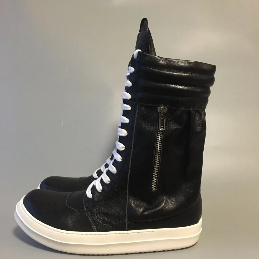 18ss heavy-bottomed high boots new high-top lace zipper boots fashion wild cowhide strap casual shoes