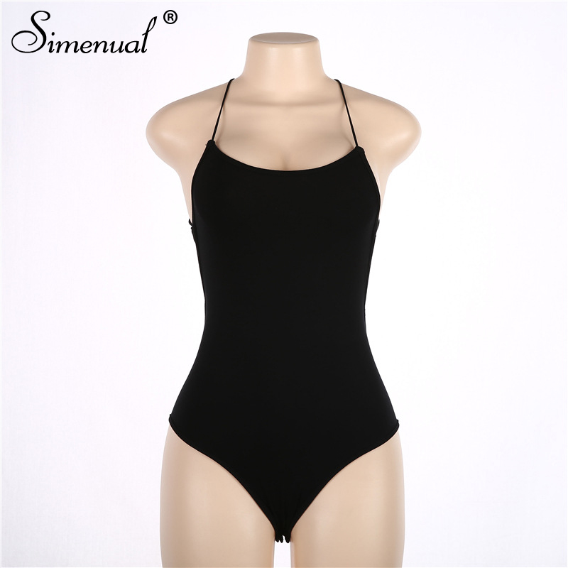 backless sleeveless summer bodysuit sexy hot one piece overalls criss cross strap play suit(5)