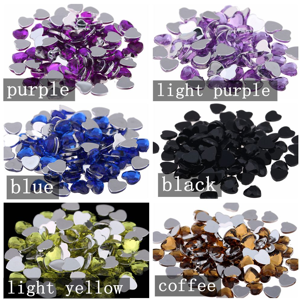 8mm Heart Shape Gems Flat Facets Flatback Normal colors Acrylic Rhinestone Shiny Craft DIY Nail Art Stickers Decoration
