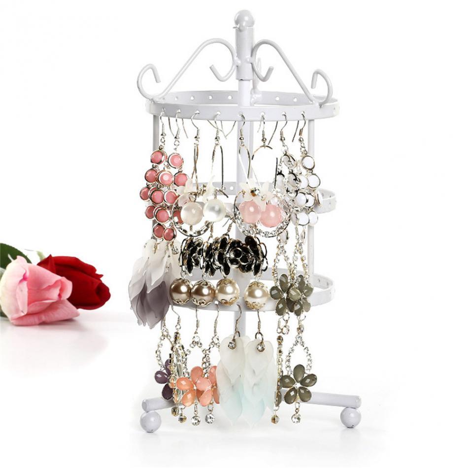 Round Rotating Jewellery Metal Earrings Organizer Rotating Earring Holder Jewelry Display Necklace Display Rack Earring Storage