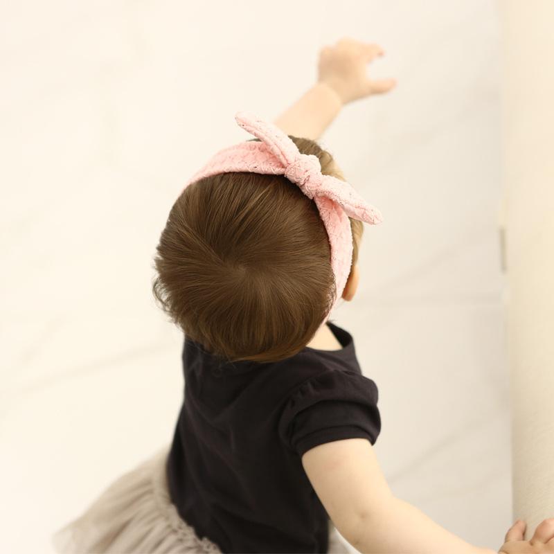 Boutique Fashion Cute Pink Rabbit Ears Newborn Stretch Soft Headbands Solid Bowknot Princess Adjustable Elastic Hairbands