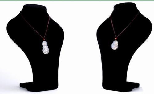 A Pair of Lover's White Ice Chalcedony Hand-carved Buddha Maitreya Pendant Necklace sweater chain jewelry gift wholesale