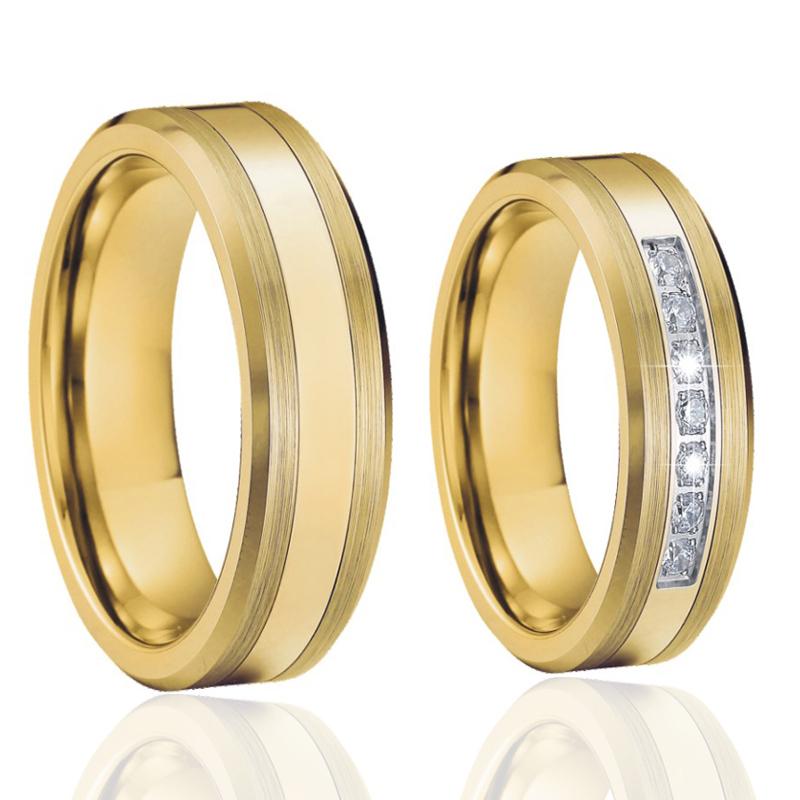 Alliance gold color couple tungsten rings titanium wedding band set women
