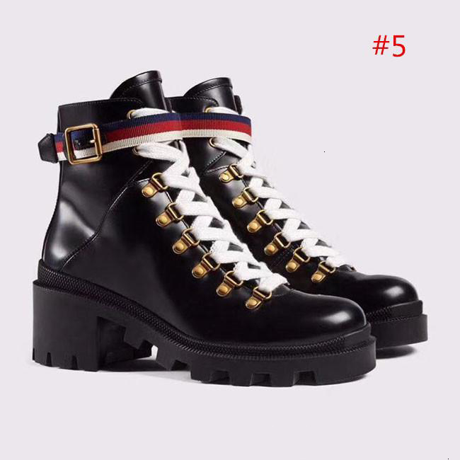 2019 High Quality Womens Leather Shoes Lace Up Ribbon Belt Buckle Ankle Boots Factory Direct Female Rough Heel Round Head Size:35-42 Q9