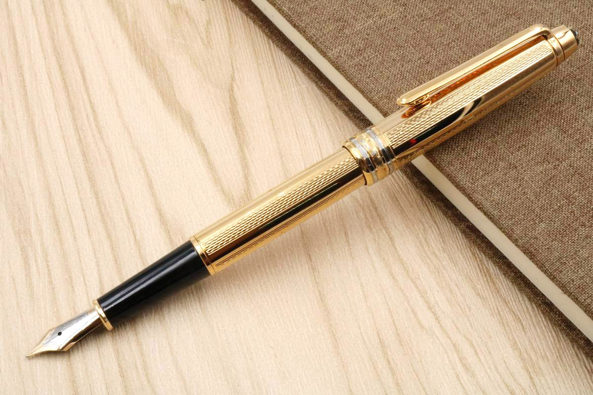 New 163 golden wavy lines metal Quality serial number golden Fountain Pen
