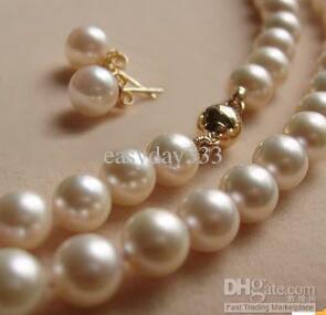 """Charmant naturel 8-9 mm blanc akoya collier de perles 18/"""" Boucles d/'oreilles Set"""