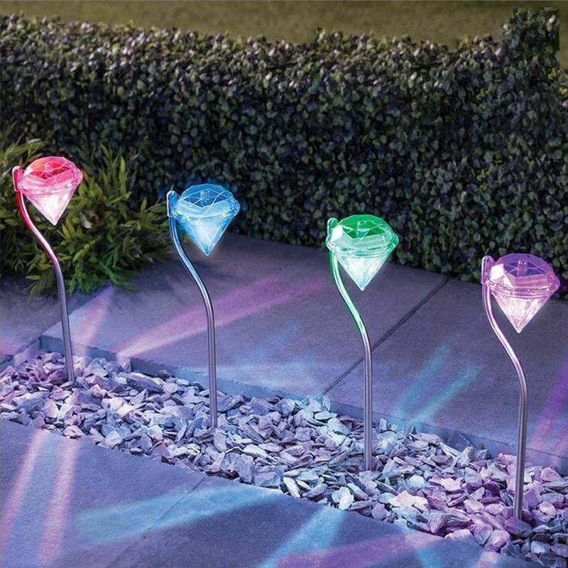 LED Movido A Energia Solar Jardim Luz Colorida Ao Ar Livre Lâmpadas LED Caminho Stake Party Decoração Diamantes Gramado Luz Solar luzes