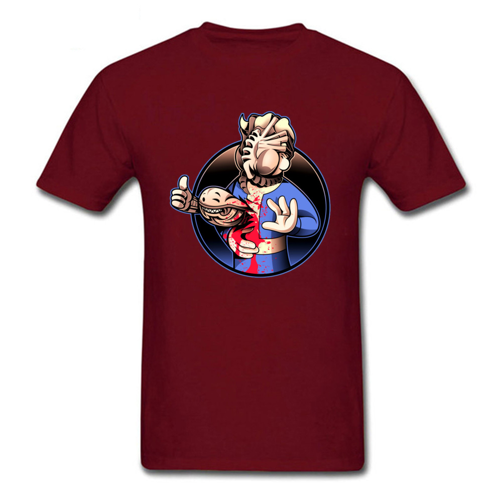 Alien Boy 100% Cotton Tops Shirt for Men Printed On T Shirt Fitness Tight Brand New Round Neck Top T-shirts Short Sleeve Alien Boy maroon