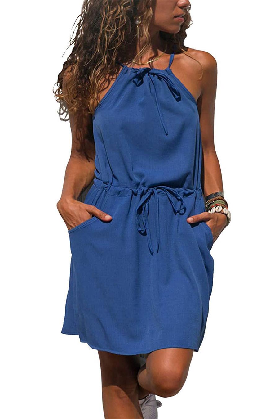 Gladiolus Chiffon Women Summer Dress Spaghetti Strap Floral Print Pocket Sexy Bohemian Beach Dress 2019 Short Ladies Dresses (44)