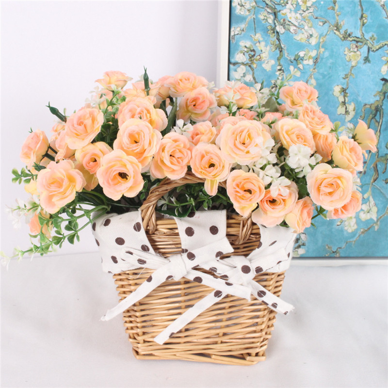 New Artificial Small Tea Rose Flower With Rattan Flower Baskets Vase For Home Decoration Photo Props Silk Flower As Gift Y19061103