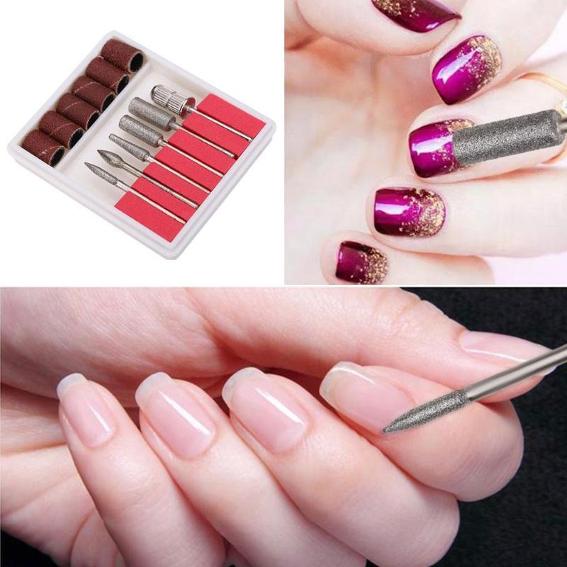 Pro Nail Art Diy Drill Bits File Kit Diy Electric Drill Bits File Kit Metal Grinding Heads Sand Rings Nail Art Tool