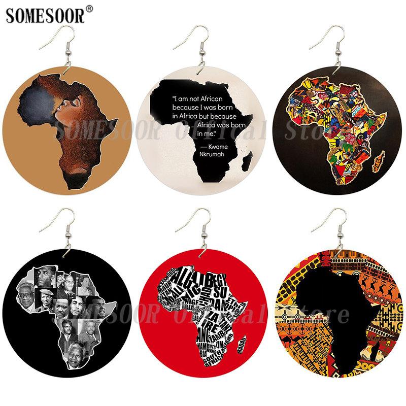 2 pares de madera África mapa étnico tribal africana de Mujer Gancho Pendientes