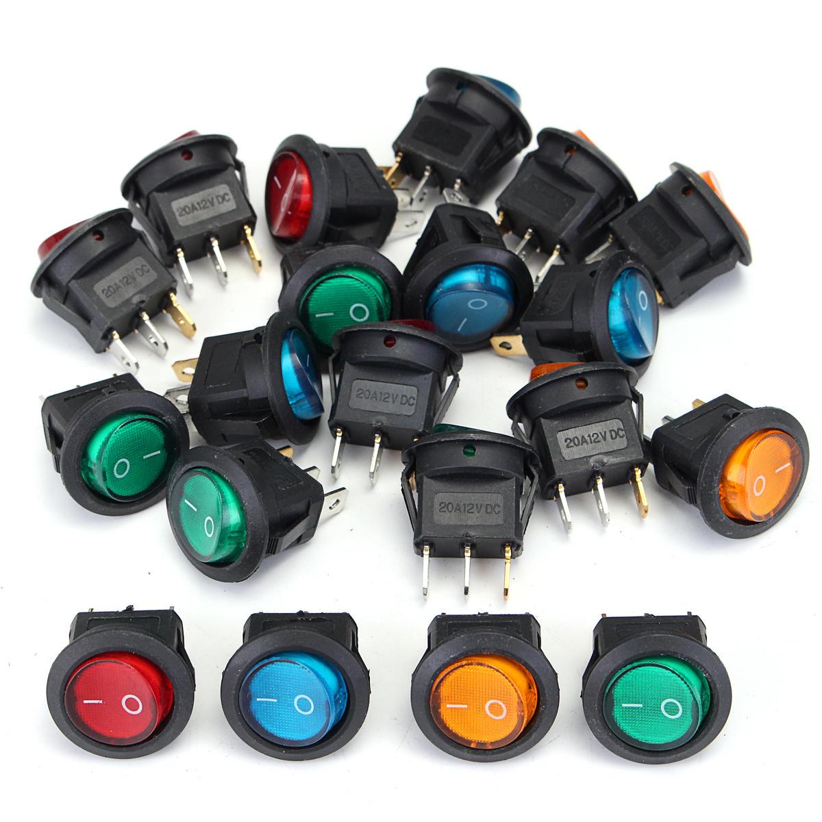 20Pcs Blue 12 V DEL Dot Light Auto voiture Bateau ronde Rocker ON-OFF Interrupteur à bascule