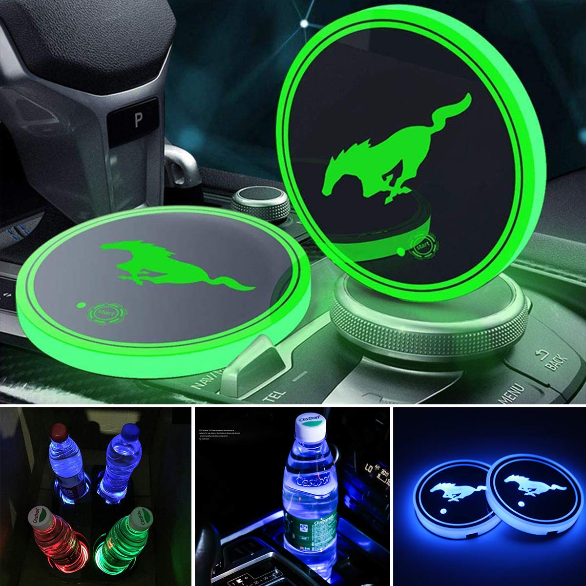 Support de tasse /à LED Tapis de protection Tapis de tasse /à LED Benz coaster 7 Couleurs changeantes Tapis de charge USB Coupe-vent Pad de protection Tapis /à LED Int/érieur de lampe de d/écoration 2PCS
