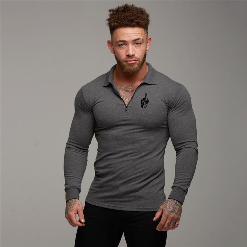 Fitness Polo Shirt Turn Collar Men Plus Size Autumn Zipper Brand Men Polo Shirt Long Sleeve Casual Male Shirt Dress Polo Shirts