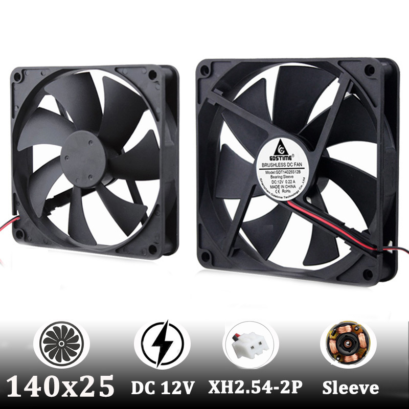 1 Pcs DC Fan 12V 14025 2 Pin 140X140X25mm Brushless DC Cooling Blade Fan