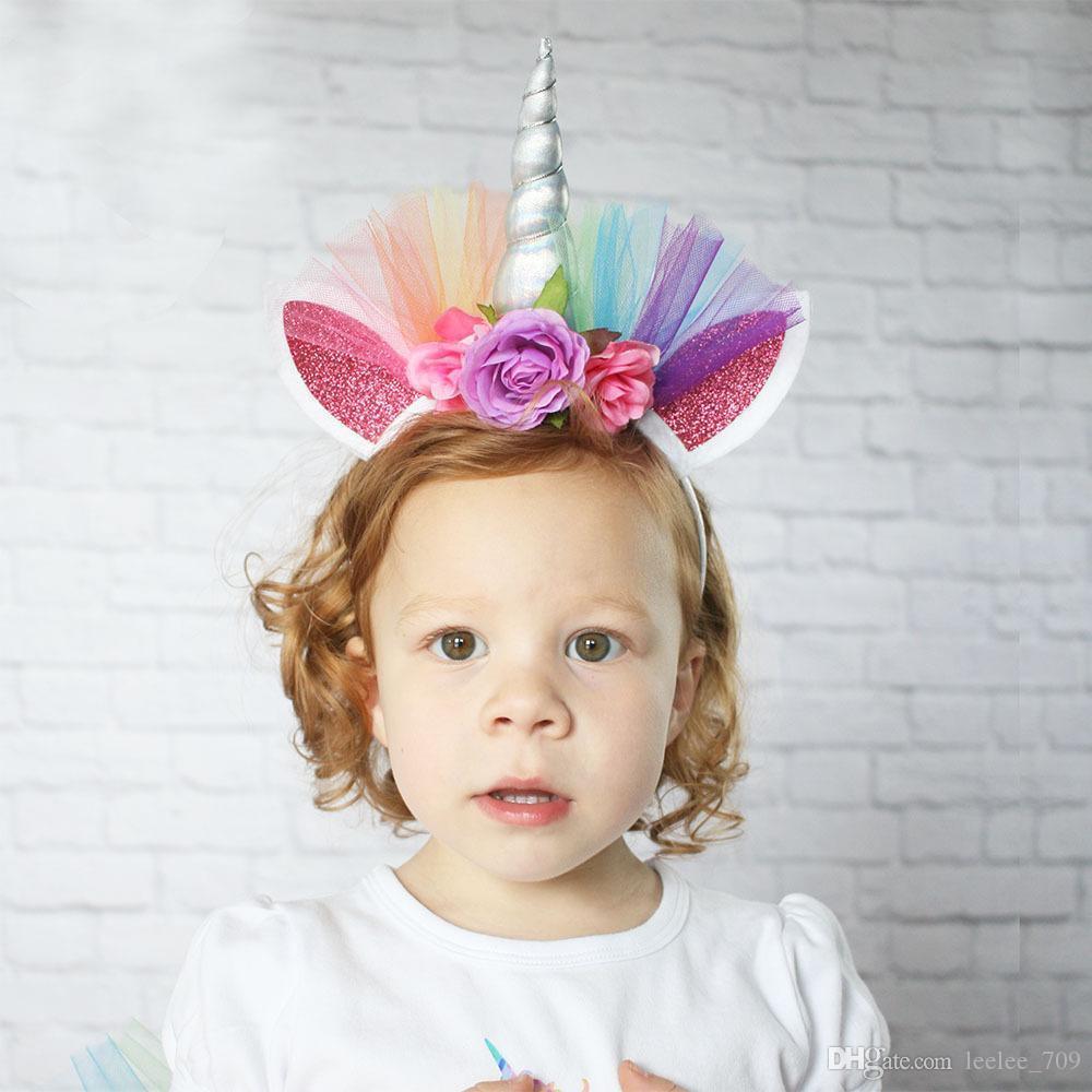 Hot Unicorn Childrens Party Hat Horn Flowers Glitter Hard Headband Spiral Unicorn Horn