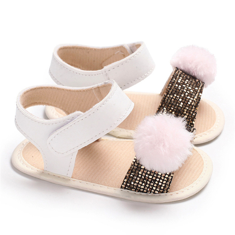 3 Color Summer Baby Girl Shoes Newborn Toddler Baby Girl Soft Ball Sequins Sandals Soft Sole Anti-slip Shoes Girl Sandals JE14#F (16)