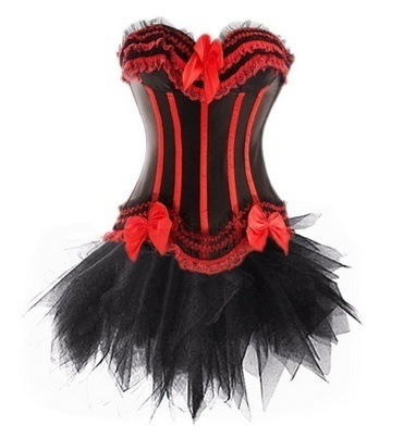 S-6XL Womens Lace Corset Top with Tutu Skirt Set Showgirl Plus Size Sexy Clubwear Body Shapers steampunk Bustier Dress