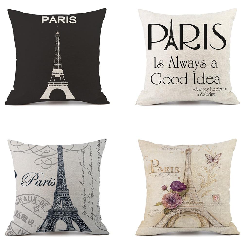 Retro Paris Tour Eiffel Taie d/'oreiller Square Home Decor Sofa Siège Housse De Coussin