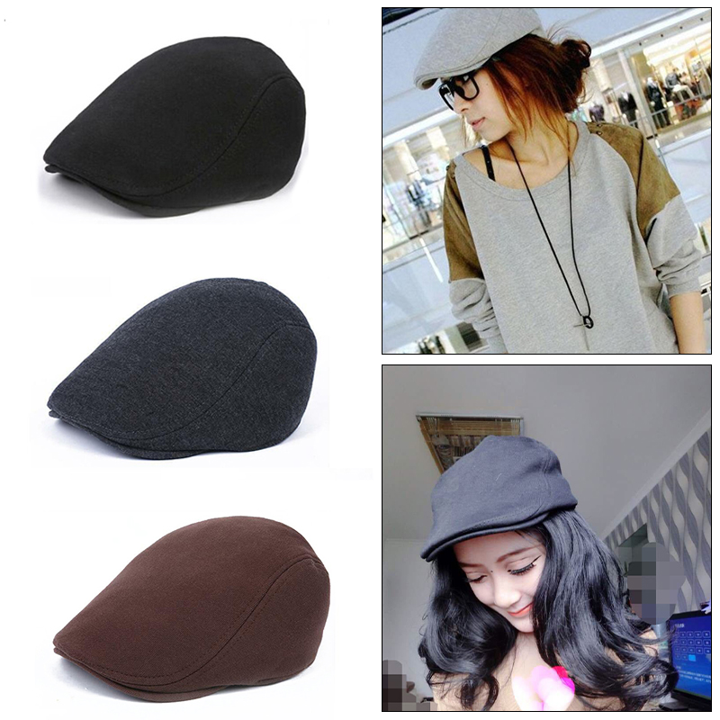 Men/'s Polyester Wool /& Pleather Duckbill Driver Cabby Cap Hat 5 Colors