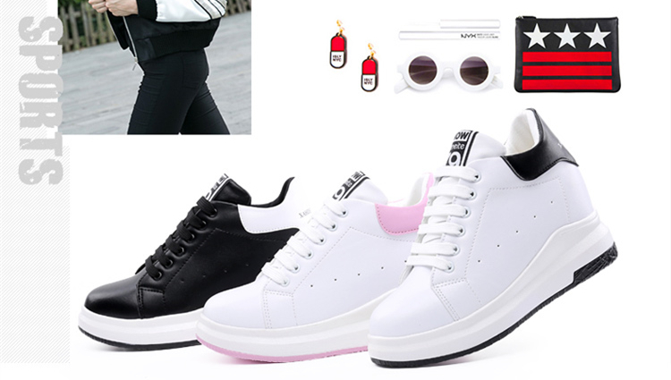 WADNASO Height Increased Casual Shoes Woman Wedge Platform Sneakers Lace Up Breathable Hide Heels Ladies Shoes Female XZ108 (13)