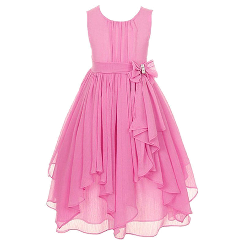 New Girls Summer Chiffon Clothing Dress Children Kids Teen Princess Elegant Wedding Prom Party Junior Teenager Outfit Y190516