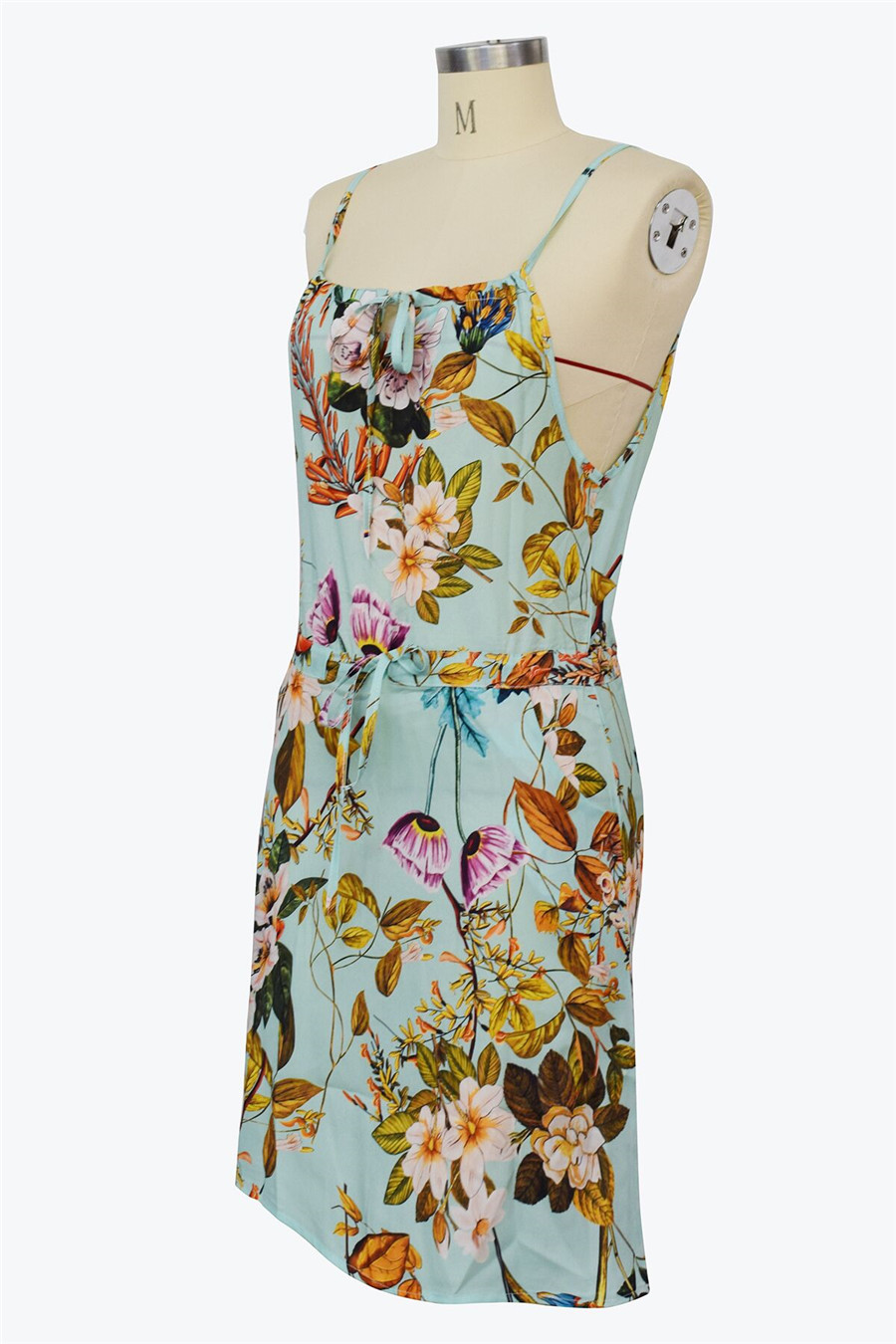 Gladiolus Chiffon Women Summer Dress Spaghetti Strap Floral Print Pocket Sexy Bohemian Beach Dress 2019 Short Ladies Dresses (31)