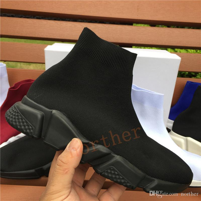 Cheap pairs speed trainer mens casual sock shoes triple black white grey royal prune luxury designer men women sneakers US 5.5-11