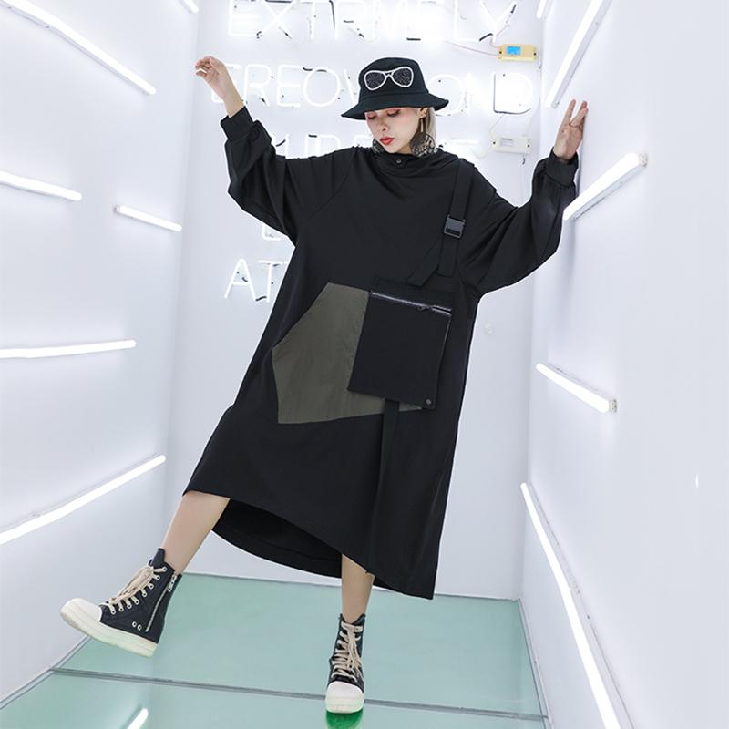 [EAM] Women Spliced Big Size Oversize Sweatshirt Dress New Hooded Long Sleeve Loose Fit Fashion Tide Spring Autumn 2019 1A198