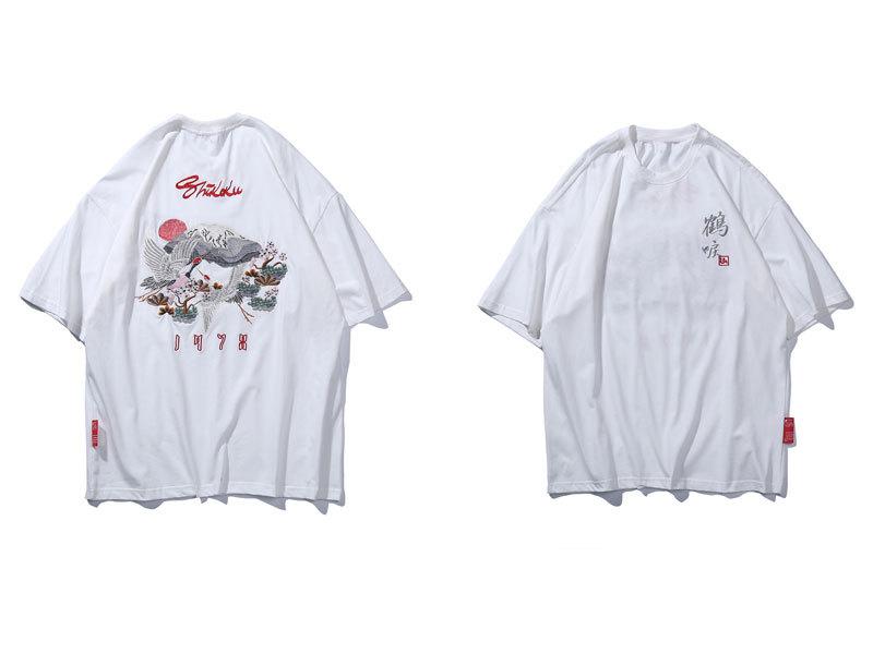 Embroidery Flowers Mount Fuji Tshirts 2