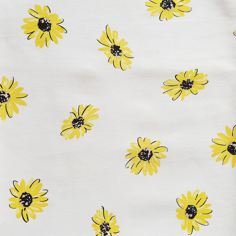 1 Meter Cotton Fabric Little Yellow Bees Flowers Print Fabrics For Clothing Dress Patchwork Japan Diy White Clothing width 140cm