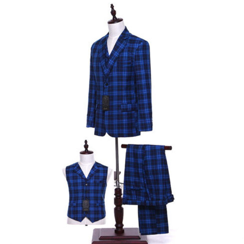 1-1 179.99 Royal Blue Plaid Men Wedding Suits Groom Tuxedo Bridegroom Business Formal Suits (Jacket + pants + vest) Custom Made_