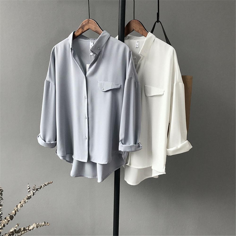 High quality Casual Chiffon white Women blouse shirt oversized Three Quarter sleeve loose shirt office wear casua tops blusas (3)