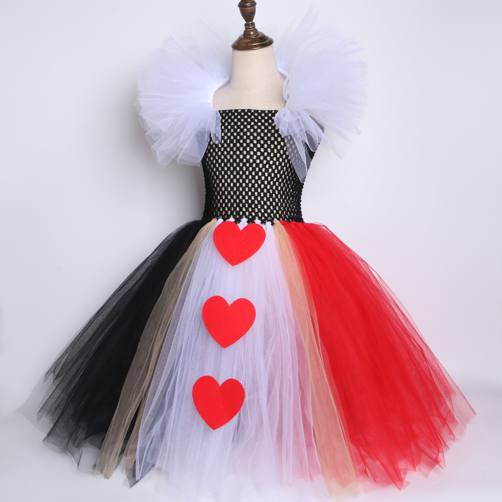 Black Red Queen Of Hearts Tutu Dress Alice In Wonderland Halloween Cosplay Costume For Girls Kids Birthday Party Dress 2-12 Year Y19061501