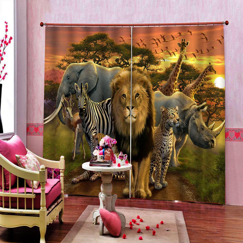 Rideaux Design Pour Chambre oiseaux des animaux dans les rideaux de fenêtre pour le coucher du soleil  salon chambre blackout rideaux enfants lion décoration intérieure rideau